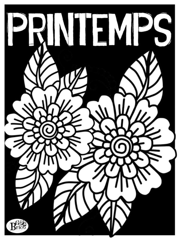 Coloriage printemps 600x801 - Folie florale